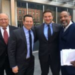 Attorney George Leontire, attorney Jose Baez, David Demos and attorney Ronald Sullivan outside court.